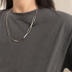 Silver stitching hollow stainless steel chain necklace silver