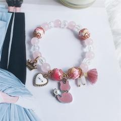 Love cat crown tassel beaded turquoise stretch bracelet cat