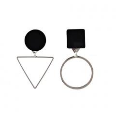 Geometric triangle asymmetrical stud earrings silver
