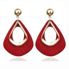 Geometric wooden hollow large drop earrings red