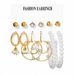 6Pairs/set Geometric Pearl Combination Stud Earring Set #1