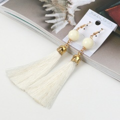 Boho style round bead long tassel ear hook earrings white