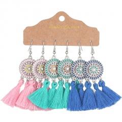 3 pairs bohemian ethnic style sun flower earrings set #3