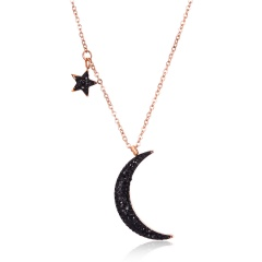 Titanium steel star moon clavicle chain necklace moon