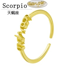 Gold 12 constellation letter open rings jewelry Scorpio