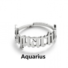 Silver 12 constellation stainless steel adjustable open ring Aquarius