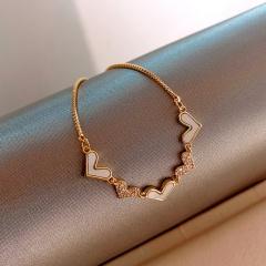 Five loving imitation shell inlay rhinestone adjustable bracelet (chain length 16-26cm) gold