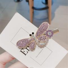 Geometric inlaid rhinestone hairpin side folder dragonfly