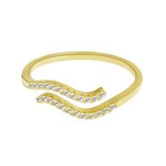 Gold Twelve constellations inlaid rhinestone open ring Aquarius