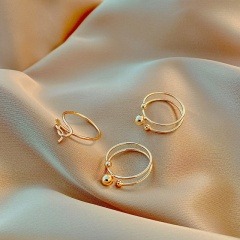 Simple round knotted opening ring 3pcs/set opp Gold