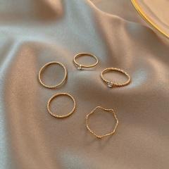 Geometric round rhinestones-encrusted ring 5pcs/set opp gold