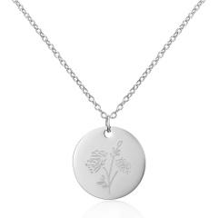 Geometric round pendant month flower necklace (Pendant size: 7*2cm, chain length: 44cm) opp October Marigold