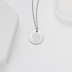 Geometric round pendant month flower necklace (Pendant size: 7*2cm, chain length: 44cm) opp January carnation