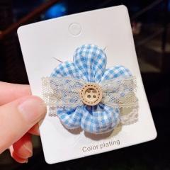 Simple lattice lace border flower button hairpin (size 5cm) opp blue lace flower