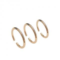 3pcs/set Simple geometric round copper open ring gold