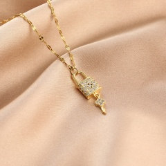 Cube Zirconia Stainless Steel Clavicle Gold Necklace Concentric lock