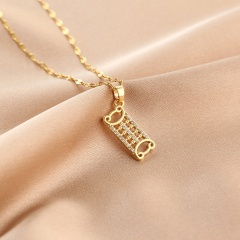 Cube Zirconia Stainless Steel Clavicle Gold Necklace Abacus