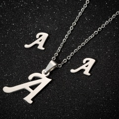 26 Letters Stainless Steel Necklace Earring Set/Monotyep Corsiva Font Necklace Set (size 45cm) opp A