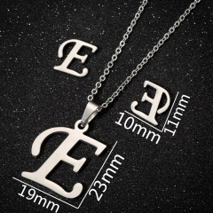 26 Letters Stainless Steel Necklace Earring Set/Monotyep Corsiva Font Necklace Set (size 45cm) opp E