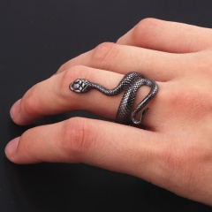 Titanium Steel Exaggerated Snake-Shaped Creative Opening Ring Zodiac For Women Fashion Finger Jewelry black