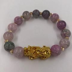 10mm cracked imitation agate jade brave men and women transfer bracelet opp Purple Jade