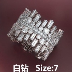 Irregular micro-inlaid cubic zirconia ring #7white