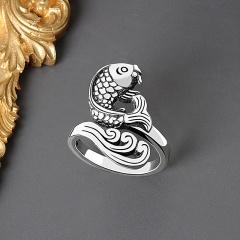 Simple retro three-dimensional small fish open ring NJ646 Thai silver
