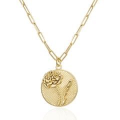 Month Flower Coin Pattern Pendant Embossed Flower Gold Necklace (Pendant size: 2*2cm, chain length: 46+5cm) Jan.Carnation