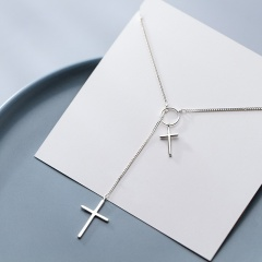 Simple Ring Cross Pendant copper Necklace silver