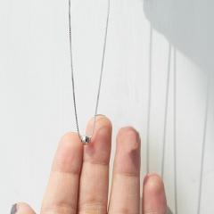 Simple round bead pendant short card neck chain necklace (size 40+5cm) platinum