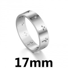 Simple hollow stainless steel cross ring 17mm steel