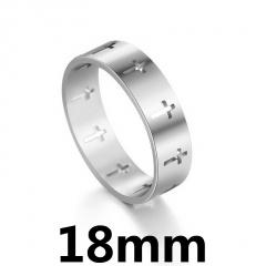 Simple hollow stainless steel cross ring 18mm steel