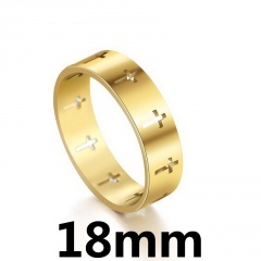 Simple hollow stainless steel cross ring 18mm gold