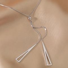 Hollow triangle tassel long copper adjustable clavicle necklace (size 55.5+6.5+3.5cm) 18KGP