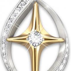 Jesus Our Lady of geometric necklace religion (Pendant size: 3cm, chain length 45+5cm) C