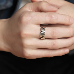 Simple irregular crack opening copper ring silver