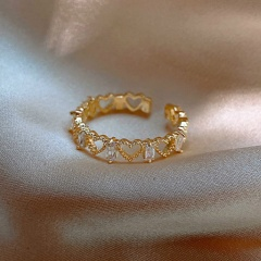Hollow Love Cubic Zirconia Copper Plated Real Gold Open Ring gold