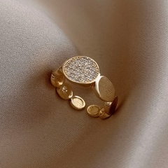 Round geometric cube zirconia copper plated real gold open ring A