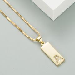 Micro Inlaid Cubic Zirconia Letter Pendant Copper Necklace (Chain length: 45+5cm, pendant: 0.8*2.0cm) A
