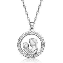 Round Cubic Zirconia Thanksgiving Mother's Day Copper Necklace (Chain length: 45+5cm pendant: 2*2.5cm) platinum