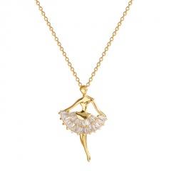 Ballet Girl Cubic Zirconia Pendant Titanium Steel Necklace (chain length 45cm) gold