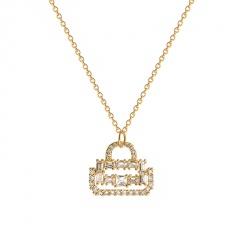 Cubic Zirconia Concentric Lock Titanium Steel Clavicle Necklace (chain length 45cm) gold