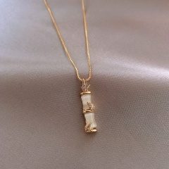 Bamboo Shaped Opal Pendant Titanium Steel Necklace (chain length 45cm) gold