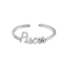 White twelve constellation letters open copper ring Leo