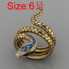 Snake-shaped micro inlaid royal blue cubic zirconia ring #6
