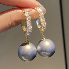 S925 silver needle Imitation Pearl C-shaped Cubic Zirconia Hoop Earrings () gray