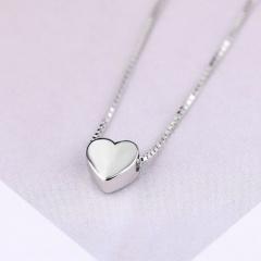 Love Copper Box Chain Necklace (Pendant size: 0.6cm, chain length 40+5cm) platinum