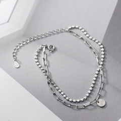 Luck small round piece double chain copper bracelet (chain length 14.5+4.5cm) luck