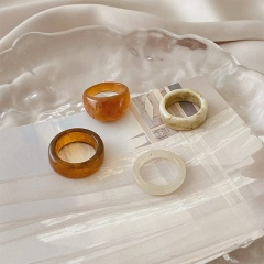 Acetate marble texture open ring set A 4pcs/set