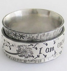 I am enough dandelion vintage ring (size #7) white